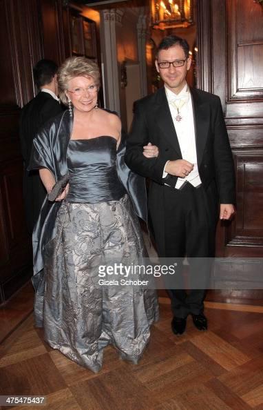 Viviane Reding and Richard Kuehnel attend the traditional Vienna Opera Ball at Vienna State Opera on February 27 2014 in Vienna Austria