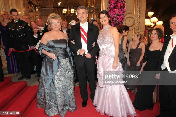 Viviane Reding Michael Spindelegger and wife Margit attend the traditional Vienna Opera Ball at Vienna State Opera on February 27 2014 in Vienna...