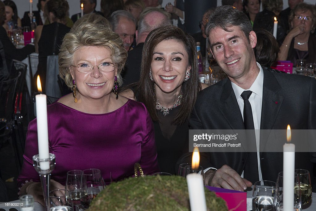 Viviane Reding, Vice-President of the European Commission, Linda Barras, President of the event, and Christian Varone, Valais Police Commander, attend the 30th edition of 'La Nuit Des Neiges' Charity Gala on February 16, 2013 in Crans-Montana, Switzerland.