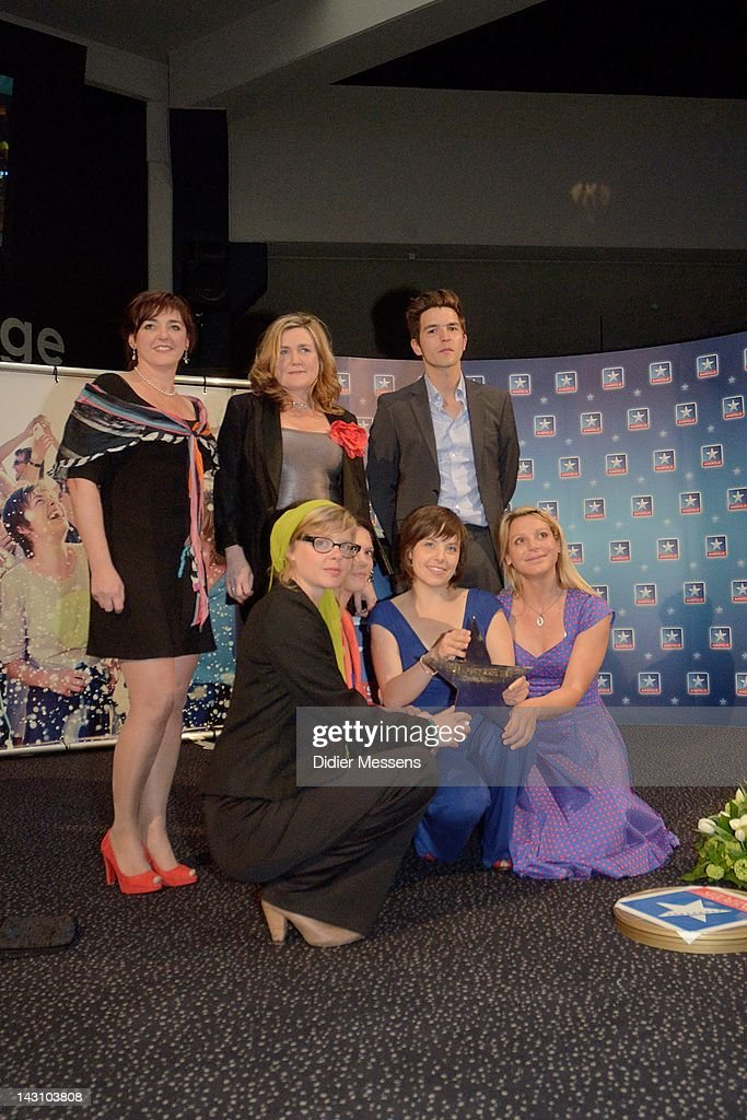 Viviane Vanfleteren, Ilse Somers, Matteo Simoni, Maaike Neuville, Marieke Dilles, Eline Kuppens and Ellen Schoeters attend the Antwerp premiere of 'Weekend At The Sea' (Weekend Aan Zee) at Metropolis on April 18, 2012 in Antwerpen, Belgium.