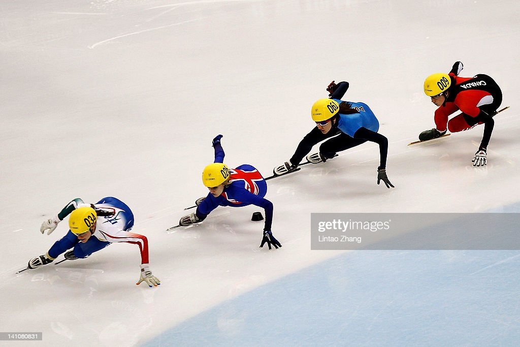 Viviani Elena of Italy, <a gi-track='captionPersonalityLinkClicked' href=/galleries/search?phrase=Elise+Christie&family=editorial&specificpeople=4113885 ng-click='$event.stopPropagation()'>Elise Christie</a> of Great Britain, Lana Gehting of USA and Marie-eva Drolet of Canada compete in the Women's 500m Semi final during day two of the ISU World Short Track Speed Skating Championships at the Oriental Sports Center on March 10, 2012 in Shanghai, China.