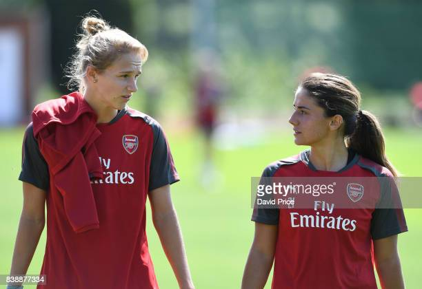 Vivianne Miedema and Danielle van de Donk of Arsenal Women during an Arsenal Women Training Session at London Colney on August 25 2017 in St Albans...