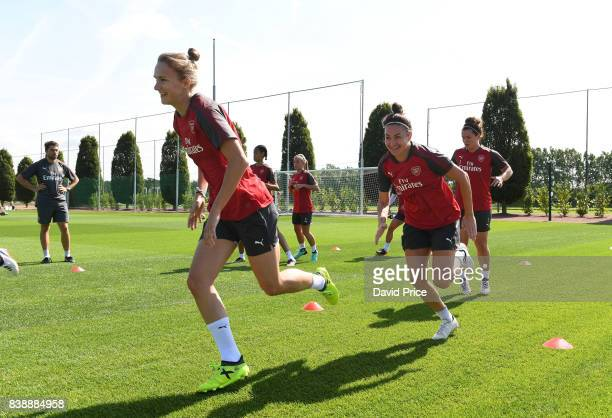 Vivianne Miedema and Jodie Taylor of Arsenal Women during an Arsenal Women Training Session at London Colney on August 25 2017 in St Albans England