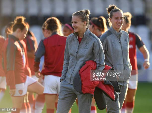 Vivianne Miedema and Sari van Veenendaal of Arsenal before the match between Arsenal Women and Everton Ladies at Meadow Park on August 31 2017 in...