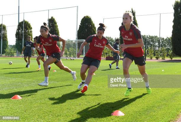 Vivianne Miedema Emma Mitchell and Jodie Taylor of Arsenal Women during an Arsenal Women Training Session at London Colney on August 25 2017 in St...