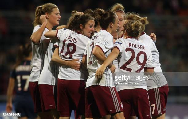 Vivianne Miedema of Bayern celebrates with team mates after scoring her team's first goalduring the UEFA women's champions league quarter finals at...