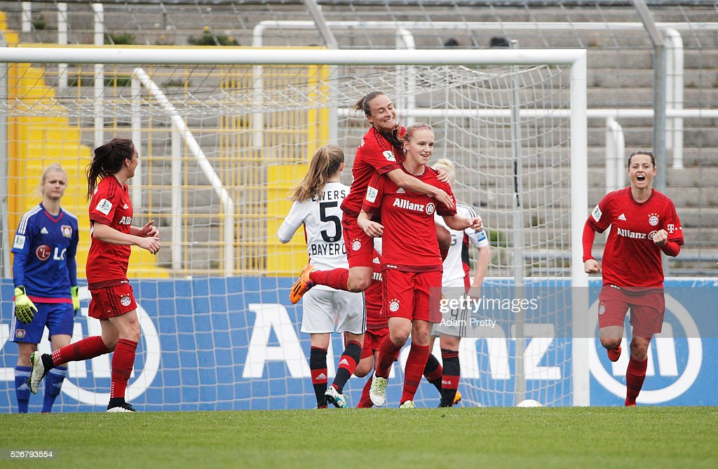 <a gi-track='captionPersonalityLinkClicked' href=/galleries/search?phrase=Vivianne+Miedema&family=editorial&specificpeople=6890022 ng-click='$event.stopPropagation()'>Vivianne Miedema</a> of Bayern Munich is congratulated after scoring the first goal during the Women's Bundesliga match at Gruenwalder Street Stadium on May 01, 2016 in Munich, Bavaria.