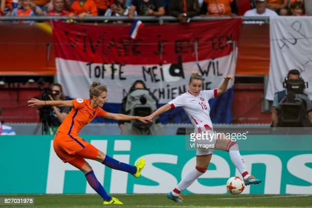 Vivianne Miedema of Holland Women Cecilie Sandvej of Denmark women during the UEFA WEURO 2017 final match between The Netherlands and Denmark at the...