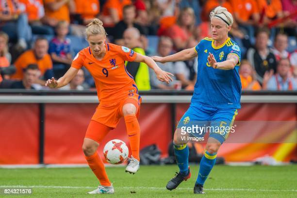 Vivianne Miedema of Holland Women Nilla Fischer of Sweden women during the UEFA WEURO 2017 quarter finale match between The Netherlands and Sweden at...