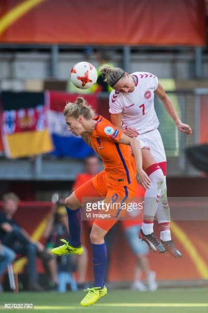Vivianne Miedema of Holland Women Sanne Troelsgaard of Denmark women during the UEFA WEURO 2017 final match between The Netherlands and Denmark at...