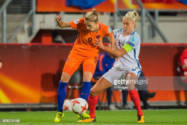 Vivianne Miedema of Holland Women Steph Houghton of England women during the semifinal UEFA WEURO 2017 match between The Netherlands and England at...