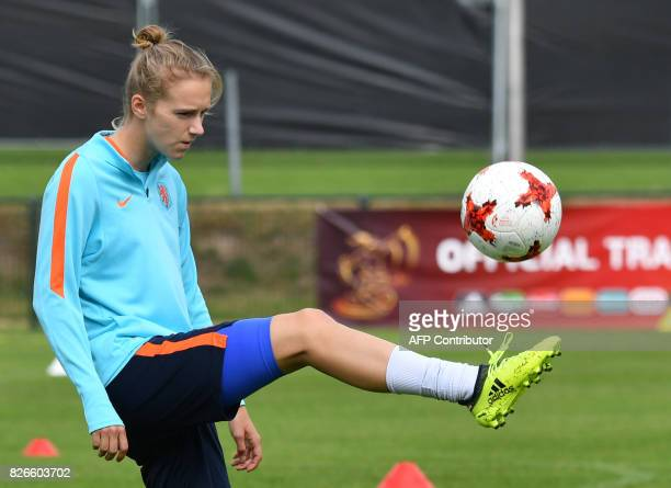 Vivianne Miedema of The Netherlands attends a training session in the eve of the UEFA Women's Euro 2017 football tournament final match against...