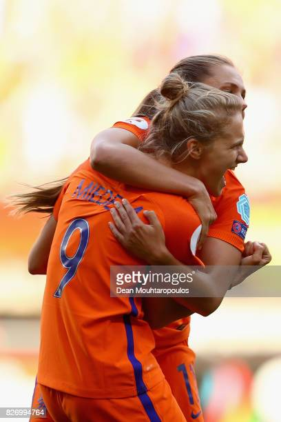 Vivianne Miedema of the Netherlands celebrates after scoring her team's fourth goal during the Final of the UEFA Women's Euro 2017 between...