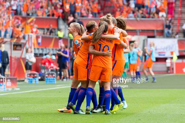 Vivianne Miedema of the Netherlands celebrates after scoring his team`s first goal during the UEFA Women's Euro 2017 final match between Denmark and...