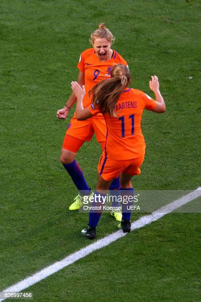 Vivianne Miedema of the Netherlands celebrates the forth goal with Lieke Martens of the Netherlands during the Netherlands v Denmark UEFA Women's...