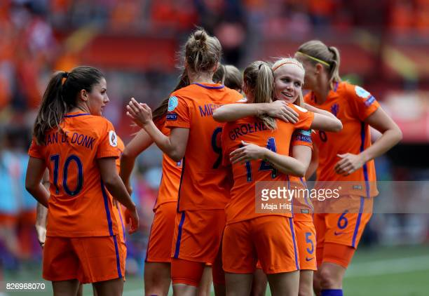Vivianne Miedema of the Netherlands celebrates with team mates after scoring her teams first goal of the game during the Final of the UEFA Women's...