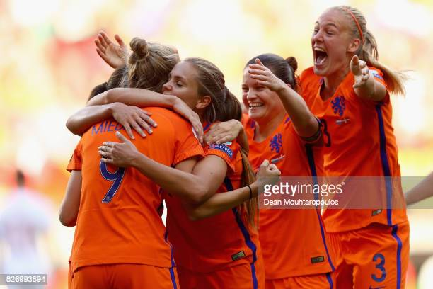 Vivianne Miedema of the Netherlands celebrates with team mates after scoring her team's fourth goal during the Final of the UEFA Women's Euro 2017...