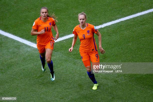Vivianne Miedema of the Netherlands #cell1 with Lieke Martens of the Netherlands during the UEFA Women's Euro 2017 Final between Denmark and...