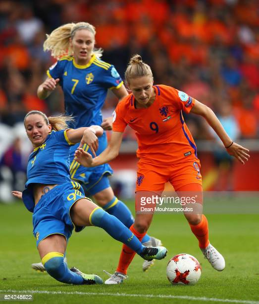 Vivianne Miedema of the Netherlands is challenged by Kosovare Asllani of Sweden during the UEFA Women's Euro 2017 Quarter Final match between...
