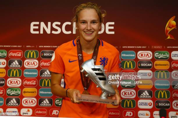 Vivianne Miedema of the Netherlands presents the UEFA Women's EURO 2017 adidas silvern Boot during the Netherlands v Denmark UEFA Women's Euro 2017...