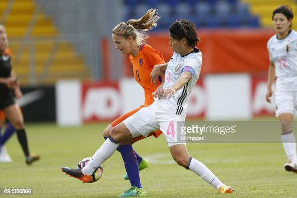 Vivianne Miedema of the Netherlands Saki Kumagai of Japanduring the friendly match between the women of The Netherlands and Japan at the Rat Verlegh...