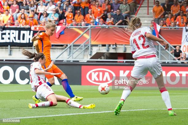 Vivianne Miedema of the Netherlands scores a goal during the UEFA Women's Euro 2017 final match between Denmark and Netherlands at De Grolsch Veste...