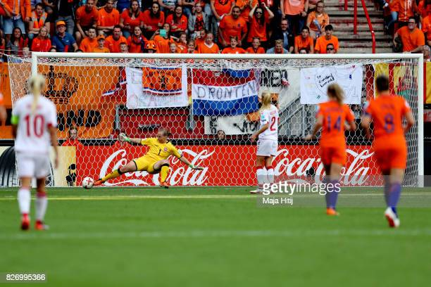 Vivianne Miedema of the Netherlands scores her team's fourth goal during the Final of the UEFA Women's Euro 2017 between Netherlands v Denmark at FC...
