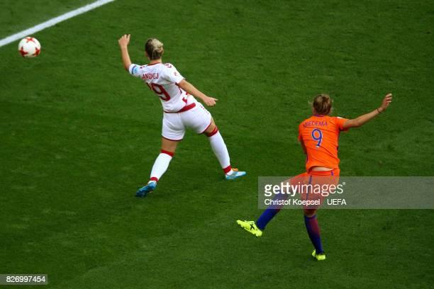 Vivianne Miedema of the Netherlands scores the fourth goal during the Netherlands v Denmark UEFA Women's Euro 2017 Final at De Grolsch Veste Stadium...