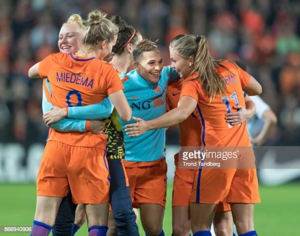 Vivianne Miedema Shanice van de Sanden Lieke Martens of Netherland during the FIFA 2018 World Cup Qualifier between Netherland and Norway at...