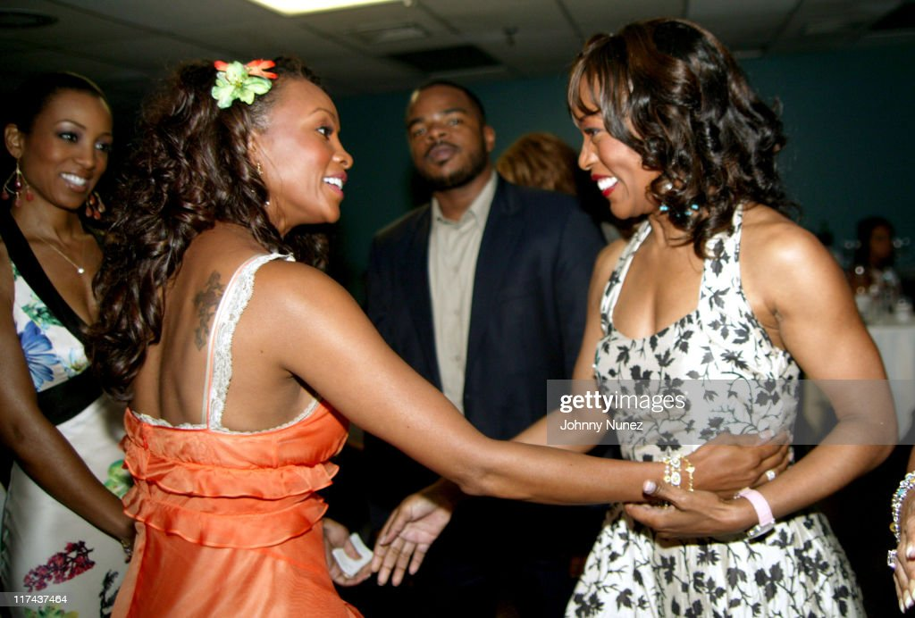 Vivica A Fox and Angela Bassett during 2004 American Black Film Festival Film Life Movie Awards Backstage at Jackie Gleason Theatre in Miami Beach...