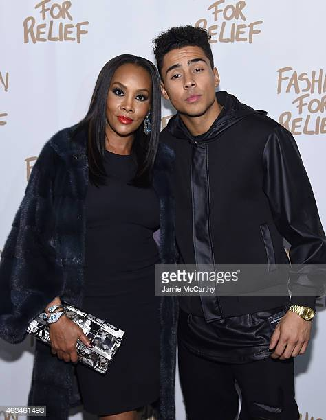 Vivica A Fox and Quincy attend Naomi Campbell's Fashion For Relief Charity Fashion Show during MercedesBenz Fashion Week Fall 2015 at The Theatre at...