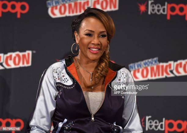 Vivica A Fox attends the 'Explosion Jones' Panel at the 2017 New York Comic Con 2017 at Javits Center on October 5 2017 in New York City / AFP PHOTO...