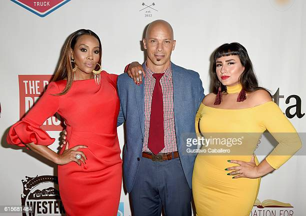 Vivica A Fox Berto Colon and Rebecca Gitana Torres attend the 5th Annual Foundation for Letters Gala at IAC Building on October 19 2016 in New York...