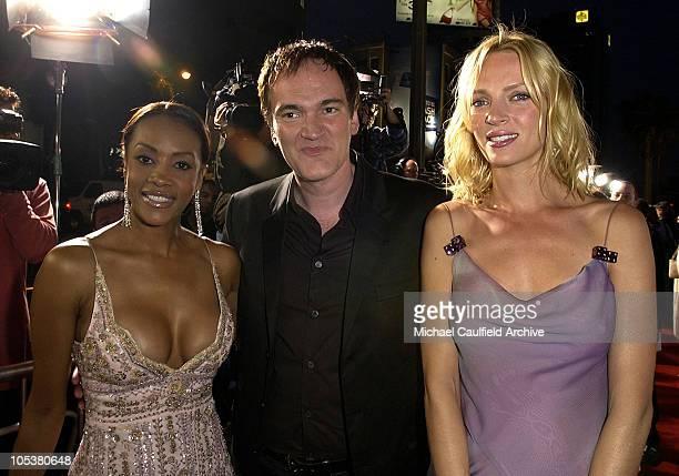 Vivica A Fox Quentin Tarantino and Uma Thurman during 'Kill Bill Vol 2' World Premiere Red Carpet at Arclight Cinerama Dome in Hollywood California...