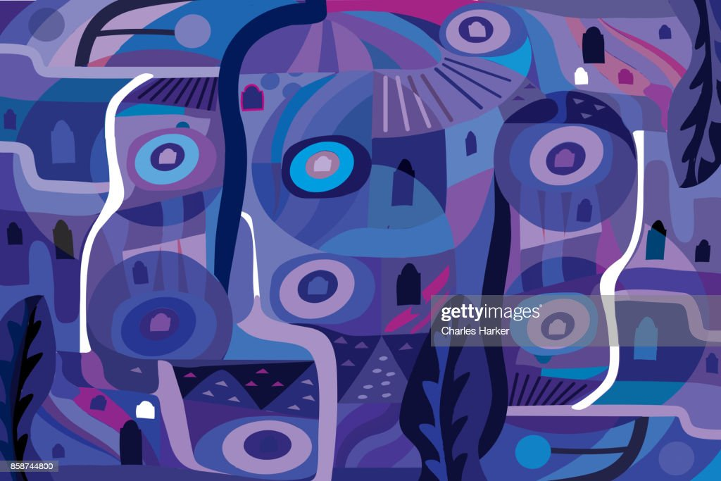 Vivid blue and purple modern abstract illustration : Stock Photo