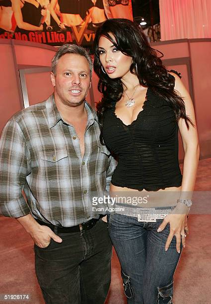 Vivid Entertainment Cochairman Steven Hirsch poses with adult film star Tera Patrick at the 2005 AVN Adult Entertainment Expo at the Sands Convention...