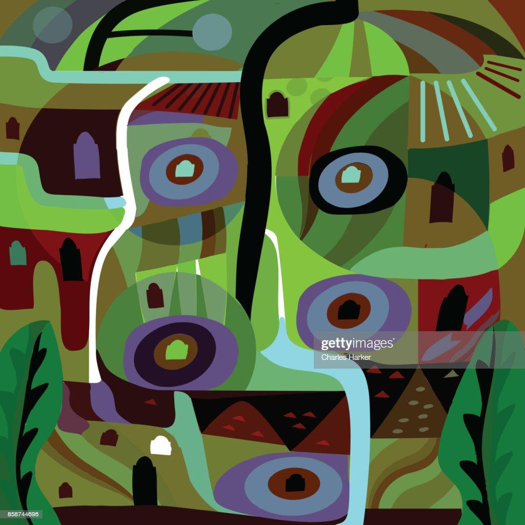 Vivid greeen and purple modern abstract illustration : Stock Photo