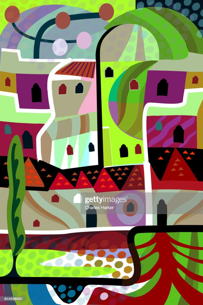 Vivid purple and green cubist village illustration in all over dynamic pattern : Stock Photo
