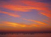 Vivid sunrise over harbour