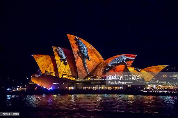 HOUSE SYDNEY NSW AUSTRALIA Vivid Sydney celebrated Australian Indigenous culture with the 'Songlines' projection appearing on the Sails of the iconic...