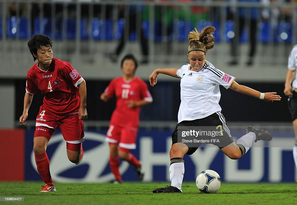 Vivien Biel of Germany takes a shot during the FIFA U-17 Women's World Cup 2012 Semi-Final match between Korea DPR and Germany at 8KM Stadium on October 9, 2012 in Baku, Azerbaijan.