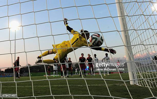 Vivien Brandt of Germany is beaten by the header of Gladys Amfobea of Ghana during the FIFA U17 Women's World Cup Grroup B match between Ghana and...