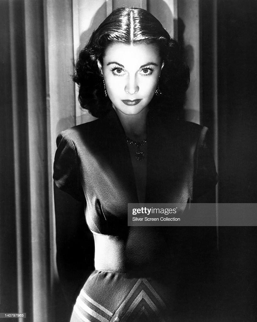 Vivien Leigh British actress wearing a dark dress with a plunging neckline in a dramaticallylit studio portrait circa 1940