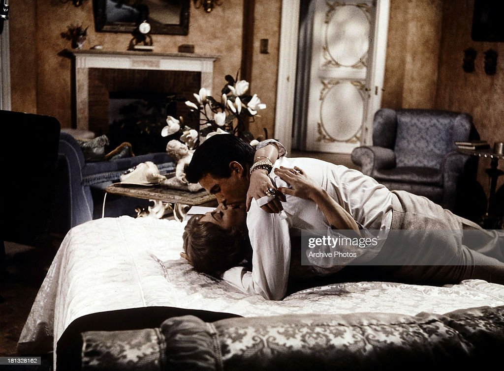 Vivien Leigh embraces Warren Beatty in a scene from the film 'The Roman Spring Of Mrs. Stone', 1961.