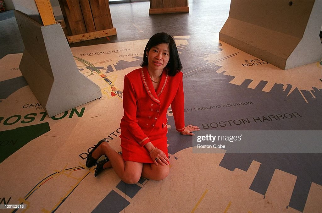 Vivien Li makes her mark along the Boston waterfront by taking a walking tour to the big dig exhibit room outside of the Aquarium.