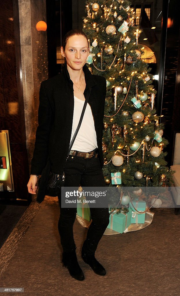 Vivien Solari attends as Joely Richardson officially opens the Tiffany & Co. Christmas Shop on Bond Street, London on November 24, 2013 in London, England.