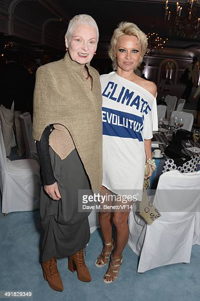 Vivien Westwood and Pamela Anderson attend the Vanity Fair And Armani Party at the 67th Annual Cannes Film Festival on May 17 2014 in Cap d'Antibes...