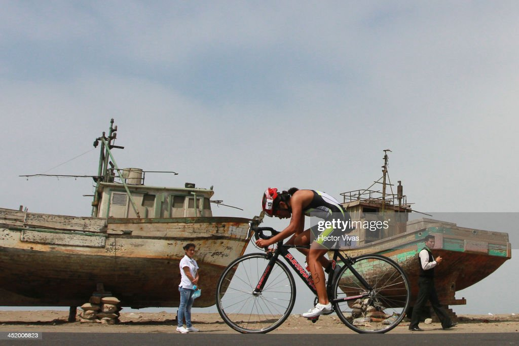 Vivienne Paulett of Peru competes during Women's Triathlon as part of the XVII Bolivarian Games Trujillo 2013 at Salaverry Port on November 25, 2013 in Trujillo, Peru.