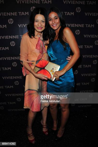 Vivienne Tam and Emmanuelle Chriqui attend VIVIENNE TAM Spring/Summer 2010 Collection at The Promenade on September 12 2009 in East Islip NY