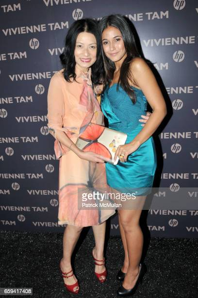 Vivienne Tam and Emmanuelle Chriqui attend VIVIENNE TAM Spring/Summer 2010 Collection at The Promenade on September 12 2009 in New York City
